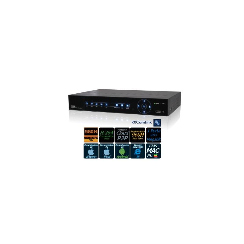DVR 8CH 960H, H.264, USCITA BNC, VGA, HDMI